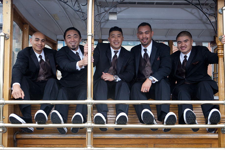 Groomsmen on the Cable Car