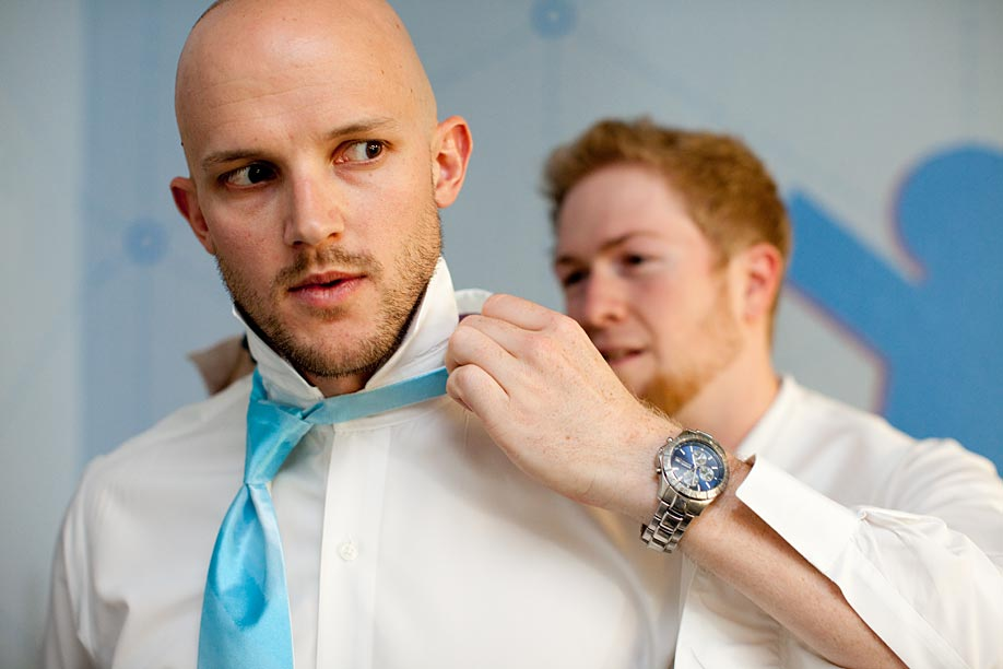 Groom Helping with Tie