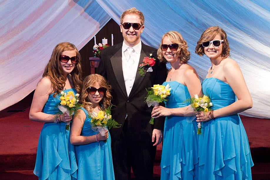 Groom and Bridesmaids in Sunglasses