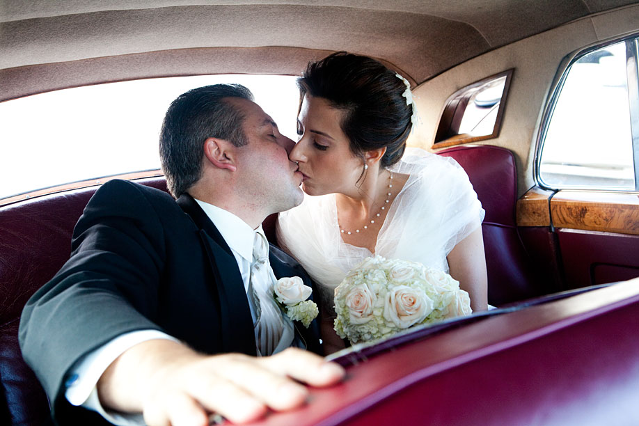 Kiss on the Way to the Reception