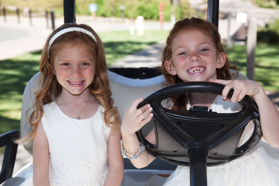 Flower Girls in Golf Cart