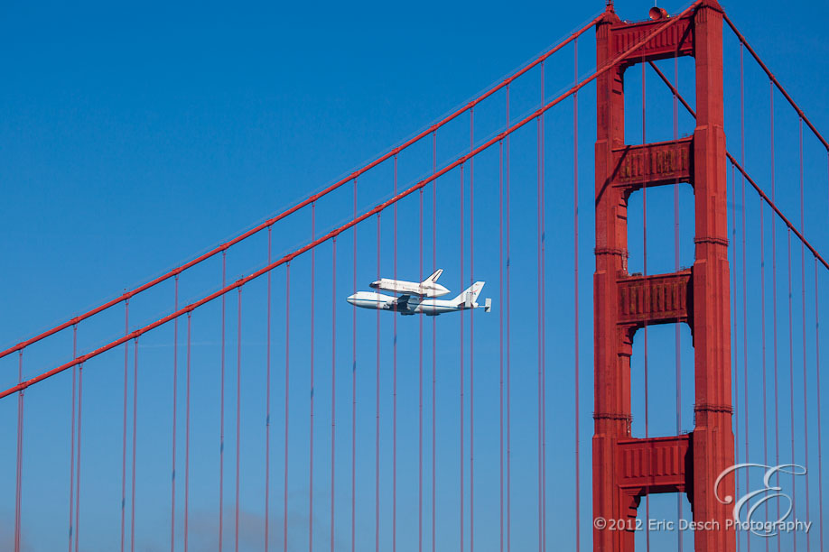 Endeavour Framed by the Golden Gate Bridge